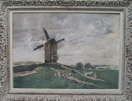 """Gilbert VON CANAL - Pintura - """"Dutch Landscape"""" by Gilbert von Canal, late 19th Century"""