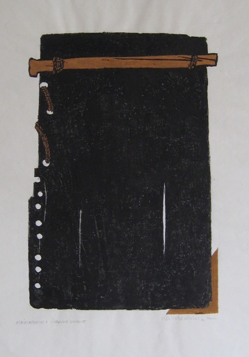 Horst Egon KALINOWSKI - Grabado - LINOGRAVURE 1993 SIGNÉE CRAYON MONOTYPE HANDSIGNED LINOCUT