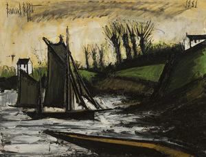 Bernard BUFFET - Painting - Bateaux de pêche