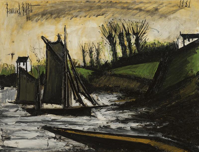 Bernard BUFFET - Painting - Bateaux en pêche