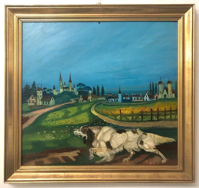 Antonio LIGABUE - Painting - Cane Setter