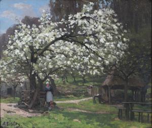 Alfred SISLEY - Gemälde - Printemps, paysanne sous les arbres en fleurs