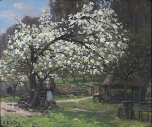 Alfred SISLEY - Pintura - Printemps, paysanne sous les arbres en fleurs