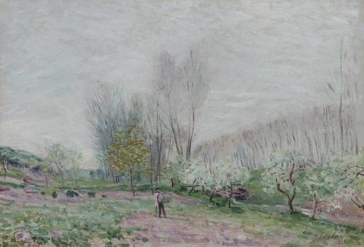 Alfred SISLEY - Gemälde - Paysage d'été à Veneux