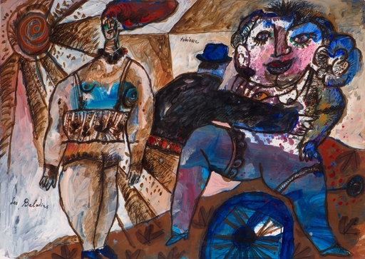 Théo TOBIASSE - Painting - Les baladins  -  Circa 1988-90