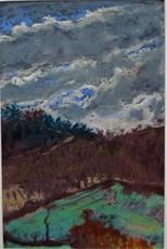 Charles Théodore BICHET - Disegno Acquarello - Paysage Limousin au ciel d'orage