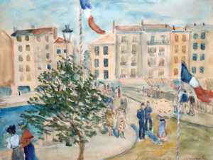 Constantin Andréevitch TERECHKOVITCH - Dessin-Aquarelle - Piazza in Paris