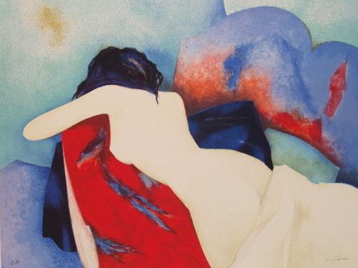 Claude GAVEAU - Estampe-Multiple - Nu sur le ventre,1995.
