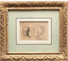Honoré DAUMIER - Drawing-Watercolor - Deux têtes