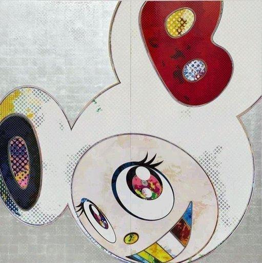 Takashi MURAKAMI - Grabado - DOB in Pure White Robe (Navy and Vermilion Ears)