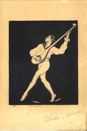 Malvina Cornell HOFFMAN - Grabado - Nijinsky playing mandolin