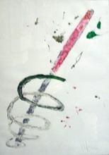 Aldo MONDINO - Pintura - Spirale rosso, bianco, verde