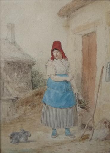 François GRENIER - Drawing-Watercolor - la fermiere