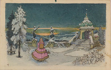 Max VON POOSCH - Drawing-Watercolor - Christmas Night, ca 1900
