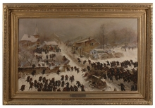 "Friedrich Wilhelm HEINE - Pintura - ""Combat at Chasille"", Large Painting, 1884"