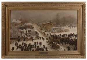 """Friedrich Wilhelm HEINE - Painting - """"Combat at Chasille"""", Large Painting, 1884"""