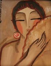 HRASARKOS - Painting - Femme à l'éventail
