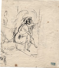 "Jules PASCIN - Drawing-Watercolor - ""Femme assise"""