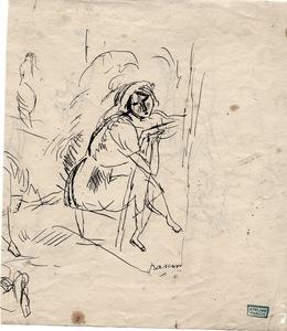 "Jules PASCIN - Dibujo Acuarela - ""Femme assise"""