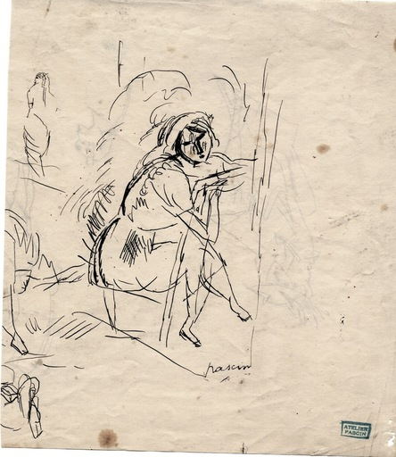 "Jules PASCIN - Drawing-Watercolor - ""Femme assise"""