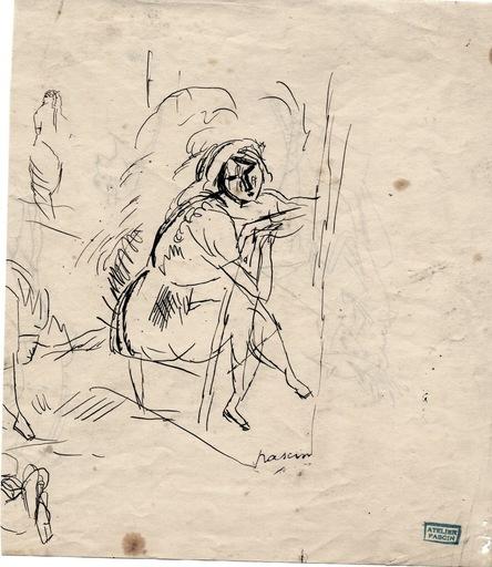 "Jules PASCIN - Disegno Acquarello - ""Femme assise"""