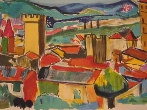 "François DESNOYER - Druckgrafik-Multiple - ""Le Village"" 1960"