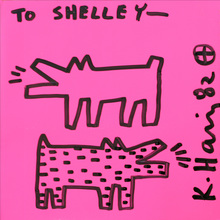 Keith HARING - Dessin-Aquarelle - Two barking dogs