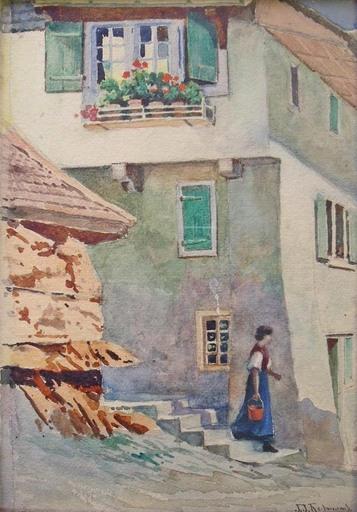 John J. REDMOND - Dessin-Aquarelle - Scène de village alpin