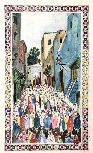 Mohamed BEN ALI R'BATI - Zeichnung Aquarell - MAROC- Pèlerinage - fête