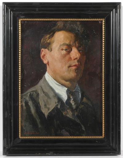 """Vladimir M. SINITSKI - Painting - Vladimir Sinitski (b. 1896) """"Male portrait"""" oil painting"""
