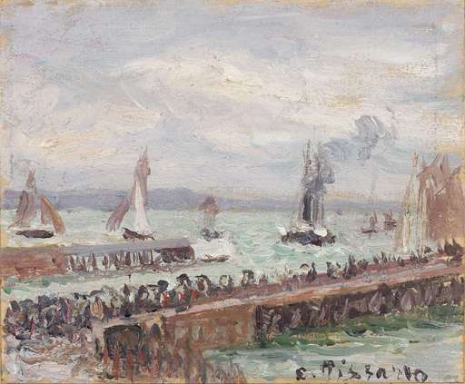Camille PISSARRO - Peinture - Entrée du port du Havre et le brise-lames ouest, soleil, mer