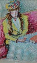 Pierre DE BELAY - Drawing-Watercolor - Hélène au café de Flore, Paris