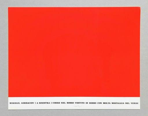 Emilio ISGRO - Druckgrafik-Multiple - Gorbaciov corre nel rosso