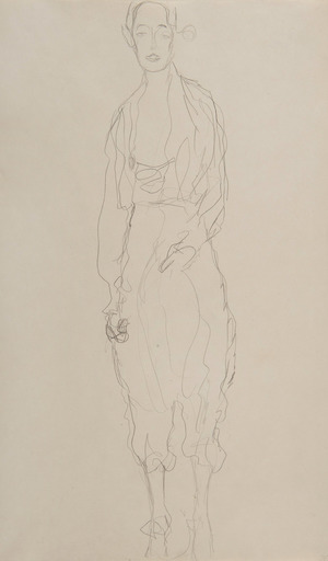 Gustav KLIMT - Drawing-Watercolor - Portrait d'une femme debout en pantalon
