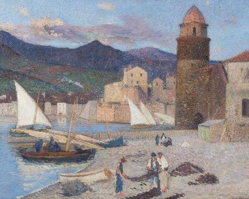 Henri MARTIN - Pintura - Collioure, le port de séchage