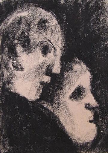 Friedrich EINHOFF - Drawing-Watercolor - #20004: 2 Gesichter.