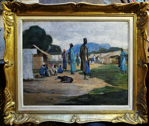 André HERVIAULT - 绘画 - Village africain, Guinée-Conakry