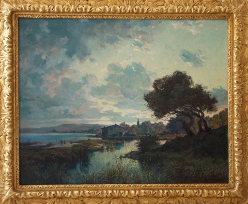 Antoine PONCHIN - Pintura - Paysage (The Somme River??)