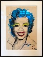 MR BRAINWASH - Drawing-Watercolor - Oprah (Rote Lippen, Blaue Haare)
