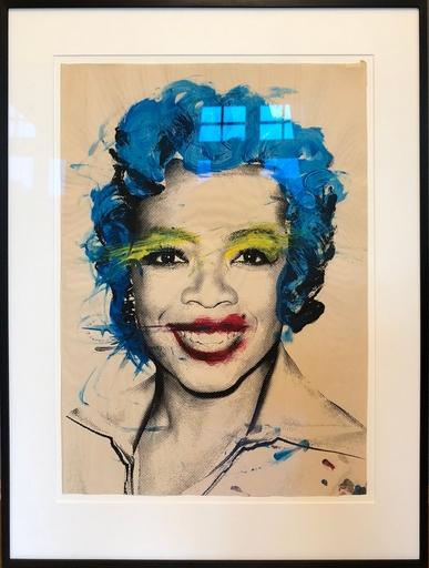 MR BRAINWASH - Disegno Acquarello - Oprah (Rote Lippen, Blaue Haare)