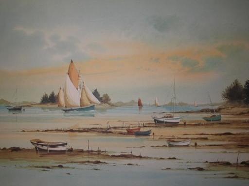 Stéphane LAURO - Stampa Multiplo - Barques à marée basse,1990.