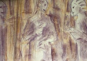 Pere GASTO VILANOVA - Dibujo Acuarela - Conversando