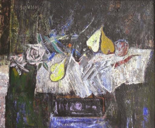 Antonio GUIJARRO GUTIERREZ - Painting - Mesa, mantel blanco y frutas y rosas
