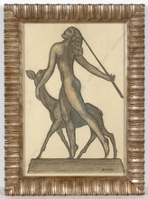 "Ferdinand OPITZ - Dibujo Acuarela - ""Beauty with roe"", Art Deco drawing, 1920/30s"