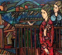 José MIJARES - Pintura - Two Girls with a Bird