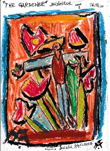 Harry BARTLETT FENNEY - Disegno Acquarello - le jardinier