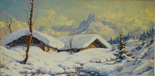 Paul CORBET - Peinture - Chalets enneigés. Les aiguilles de Chamonix