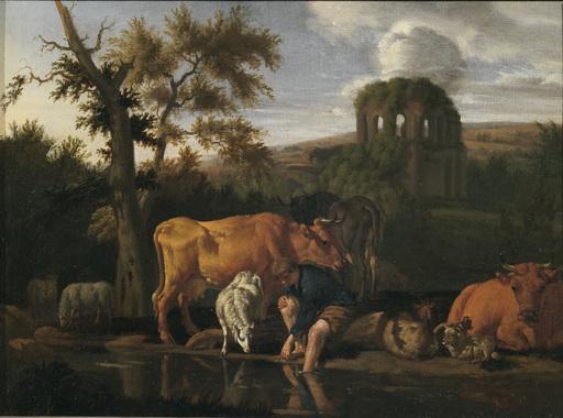 Pieter VAN DER LEEUW - Pittura - Narciso in un paesaggio italianizzante