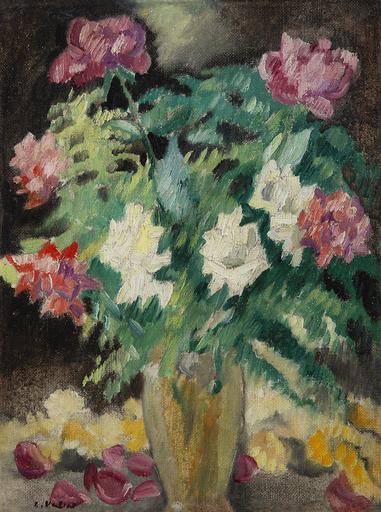 Louis VALTAT - Pittura - Vase cristal, roses