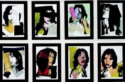 """Andy WARHOL - Stampa-Multiplo - """"Mick Jagger""""  Set of 8 prints each 15x9,5cm"""